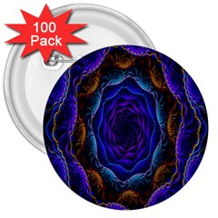 Flowers Dive Neon Light Patterns 3  Buttons (100 pack)