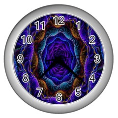 Flowers Dive Neon Light Patterns Wall Clocks (silver)