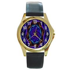 Flowers Dive Neon Light Patterns Round Gold Metal Watch