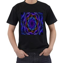 Flowers Dive Neon Light Patterns Men s T-Shirt (Black) (Two Sided)