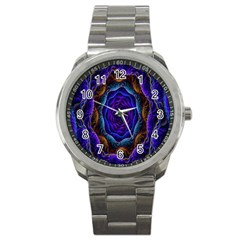 Flowers Dive Neon Light Patterns Sport Metal Watch