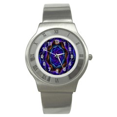 Flowers Dive Neon Light Patterns Stainless Steel Watch
