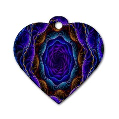 Flowers Dive Neon Light Patterns Dog Tag Heart (two Sides)