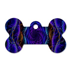 Flowers Dive Neon Light Patterns Dog Tag Bone (two Sides)