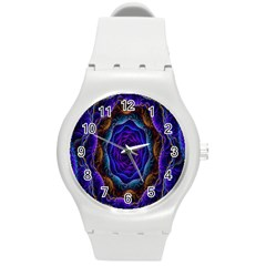 Flowers Dive Neon Light Patterns Round Plastic Sport Watch (M)