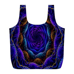 Flowers Dive Neon Light Patterns Full Print Recycle Bags (l)