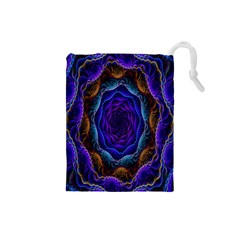 Flowers Dive Neon Light Patterns Drawstring Pouches (Small)