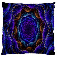 Flowers Dive Neon Light Patterns Large Flano Cushion Case (One Side)