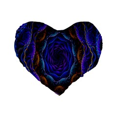 Flowers Dive Neon Light Patterns Standard 16  Premium Flano Heart Shape Cushions