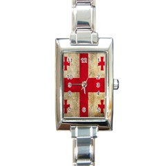 Georgia Flag Mud Texture Pattern Symbol Surface Rectangle Italian Charm Watch