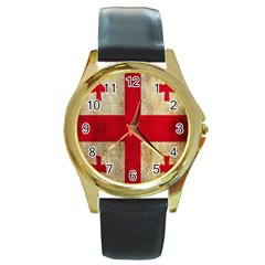 Georgia Flag Mud Texture Pattern Symbol Surface Round Gold Metal Watch