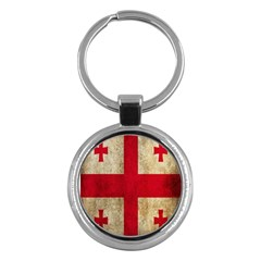 Georgia Flag Mud Texture Pattern Symbol Surface Key Chains (round)