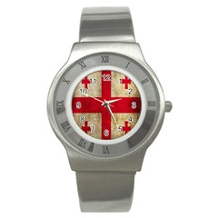 Georgia Flag Mud Texture Pattern Symbol Surface Stainless Steel Watch