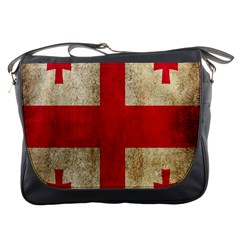 Georgia Flag Mud Texture Pattern Symbol Surface Messenger Bags