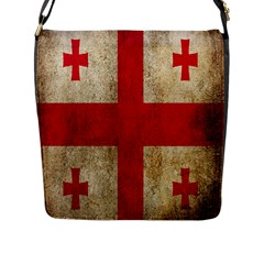 Georgia Flag Mud Texture Pattern Symbol Surface Flap Messenger Bag (L)