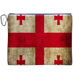 Georgia Flag Mud Texture Pattern Symbol Surface Canvas Cosmetic Bag (XXXL)