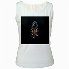 Humor Rocket Ice Cream Funny Astronauts Minimalistic Black Background Women s White Tank Top