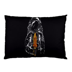 Humor Rocket Ice Cream Funny Astronauts Minimalistic Black Background Pillow Case