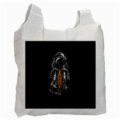 Humor Rocket Ice Cream Funny Astronauts Minimalistic Black Background Recycle Bag (Two Side)