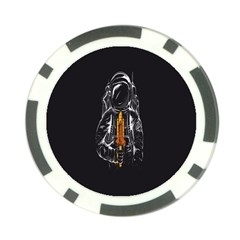 Humor Rocket Ice Cream Funny Astronauts Minimalistic Black Background Poker Chip Card Guard (10 pack)