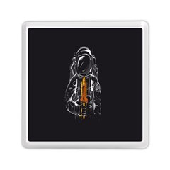 Humor Rocket Ice Cream Funny Astronauts Minimalistic Black Background Memory Card Reader (square)