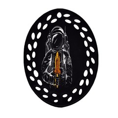 Humor Rocket Ice Cream Funny Astronauts Minimalistic Black Background Ornament (Oval Filigree)