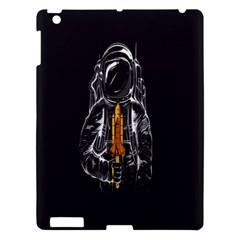 Humor Rocket Ice Cream Funny Astronauts Minimalistic Black Background Apple iPad 3/4 Hardshell Case