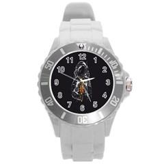 Humor Rocket Ice Cream Funny Astronauts Minimalistic Black Background Round Plastic Sport Watch (L)