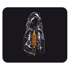 Humor Rocket Ice Cream Funny Astronauts Minimalistic Black Background Double Sided Flano Blanket (small)