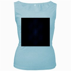 Hexagonal White Dark Mesh Women s Baby Blue Tank Top