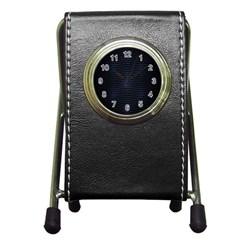 Hexagonal White Dark Mesh Pen Holder Desk Clocks