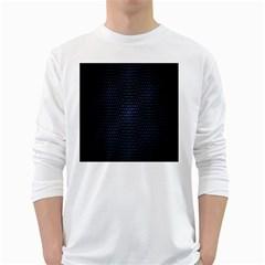 Hexagonal White Dark Mesh White Long Sleeve T-Shirts
