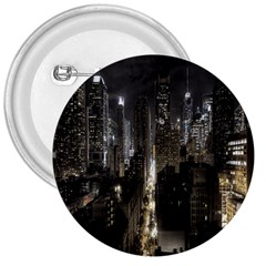New York United States Of America Night Top View 3  Buttons