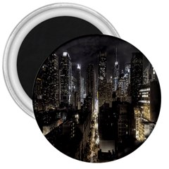 New York United States Of America Night Top View 3  Magnets