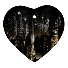 New York United States Of America Night Top View Ornament (Heart)