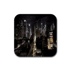New York United States Of America Night Top View Rubber Coaster (square)