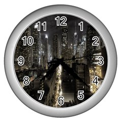 New York United States Of America Night Top View Wall Clocks (silver)