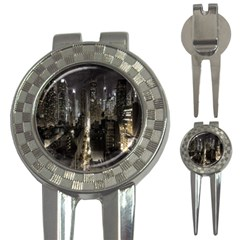 New York United States Of America Night Top View 3-in-1 Golf Divots