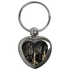 New York United States Of America Night Top View Key Chains (heart)