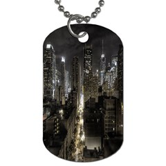 New York United States Of America Night Top View Dog Tag (One Side)