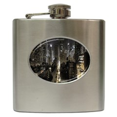 New York United States Of America Night Top View Hip Flask (6 oz)