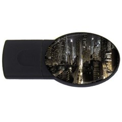 New York United States Of America Night Top View USB Flash Drive Oval (1 GB)