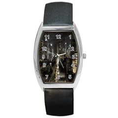 New York United States Of America Night Top View Barrel Style Metal Watch