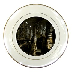 New York United States Of America Night Top View Porcelain Plates