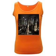 New York United States Of America Night Top View Women s Dark Tank Top