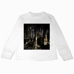 New York United States Of America Night Top View Kids Long Sleeve T-Shirts