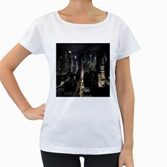 New York United States Of America Night Top View Women s Loose-Fit T-Shirt (White)