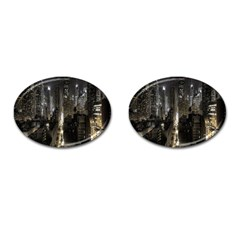 New York United States Of America Night Top View Cufflinks (Oval)