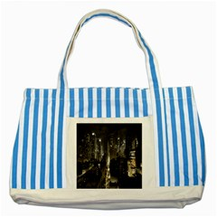 New York United States Of America Night Top View Striped Blue Tote Bag