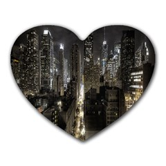 New York United States Of America Night Top View Heart Mousepads